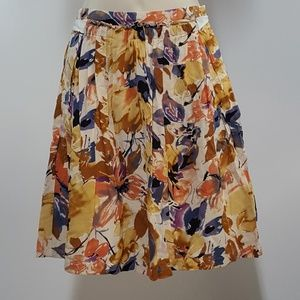 DOWN EAST Floral Pleated A-Line Skirt